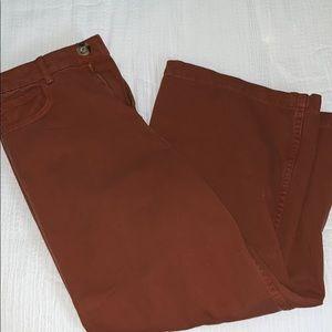 Rust calf length pants